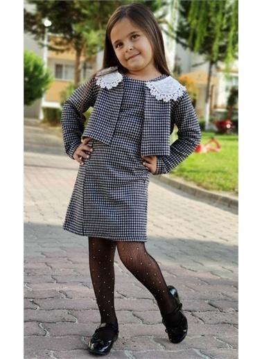 Riccotarz Kız Çocuk Boncuk Yakalı Ceketli Elbise Gri